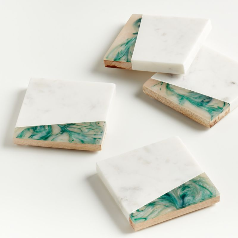 Green Resin Marble Coasters Set Crate And Barrel