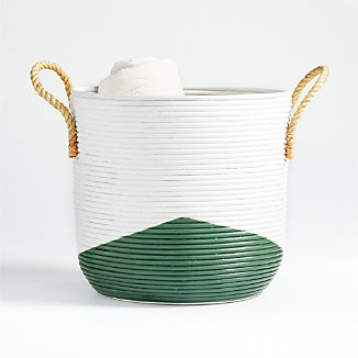 Green and White Coiled Rattan Basket