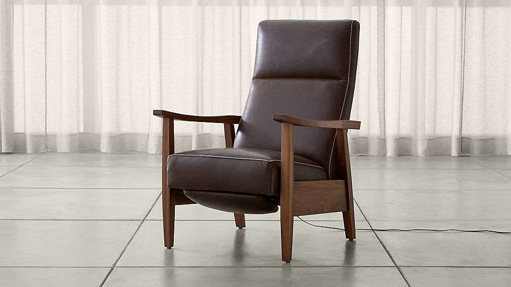 Greer Leather Wood Arm Power Recliner Reviews Crate And Barrel