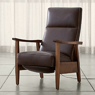 Greer Leather Wood Arm Power Recliner