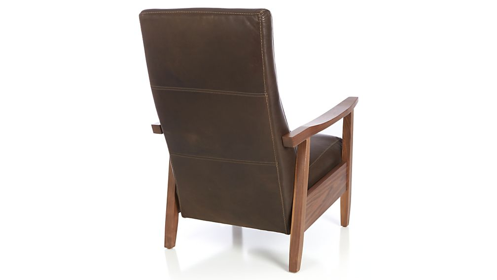 Greer Leather Wood Arm Recliner In Chairs Reviews