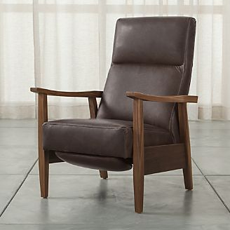 Greer Leather Wood Arm Recliner