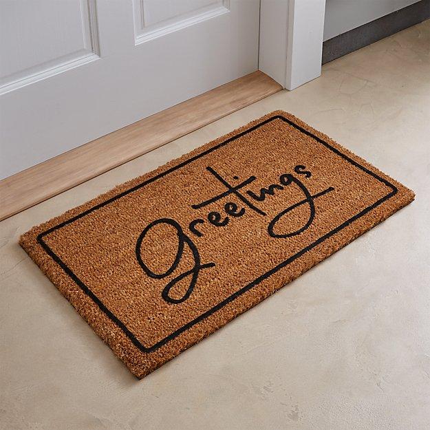 Greetings brown doormat crate and barrel for Indoor front door mat