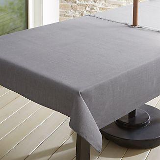 Grey Chambray Tablecloth With Umbrella Hole ...