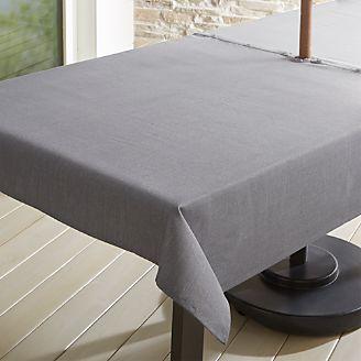 Grey Chambray Tablecloth With Umbrella Hole