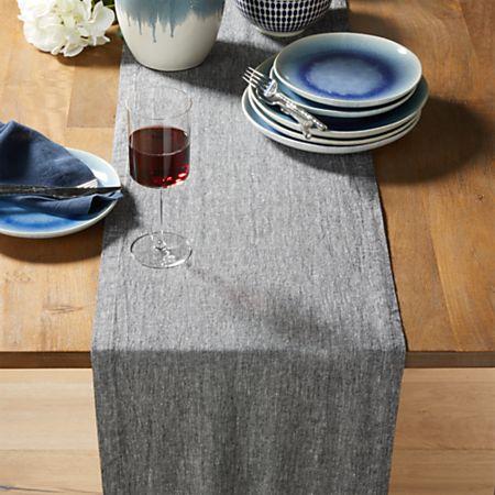 Grey Chambray Table Runner