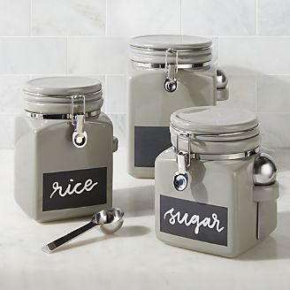 Grey Clamp Chalkboard Canister
