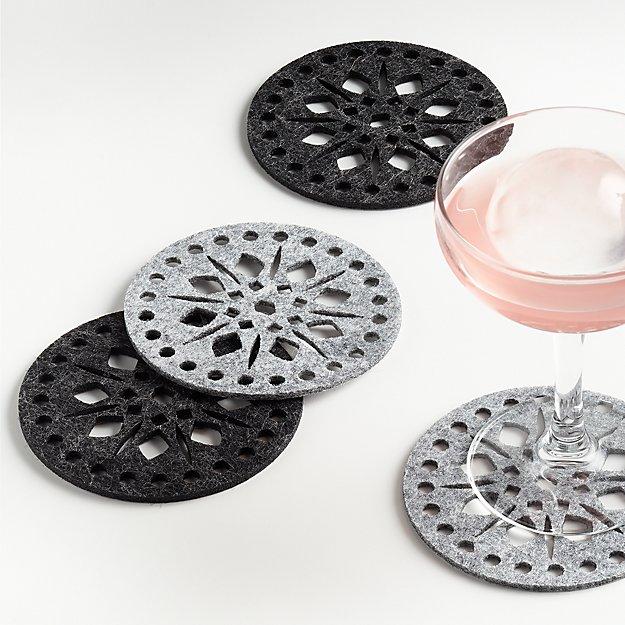 Grey Felt Coasters, Set of 4 - Image 1 of 4