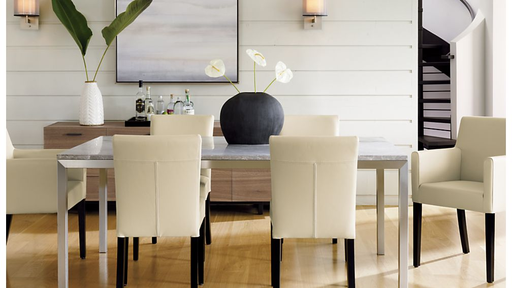 Lowe Ivory Leather Dining Arm Chair