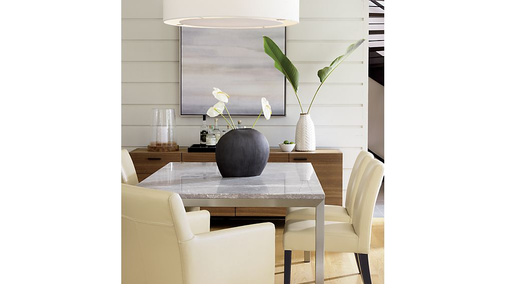 Parsons Grey Marble Top/ Stainless Steel Base 48x28 High Dining Table