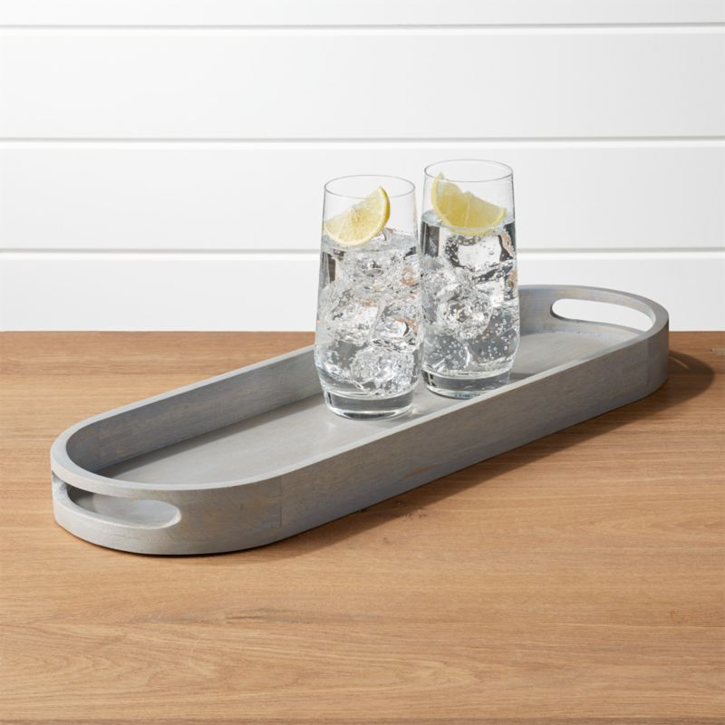 Grey Oval Serving Tray by Crate&Barrel