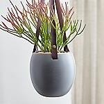 Grey Planter with Leather Hanger