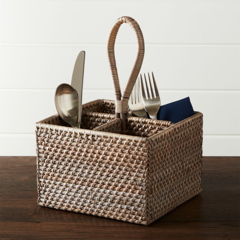 Artesia Grey Flatware Caddy Reviews Crate And Barrel