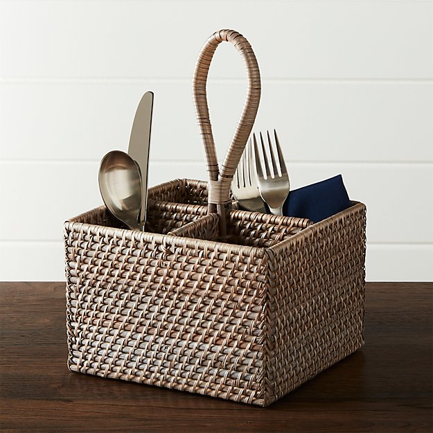 & Artesia Grey Flatware Caddy + Reviews | Crate and Barrel