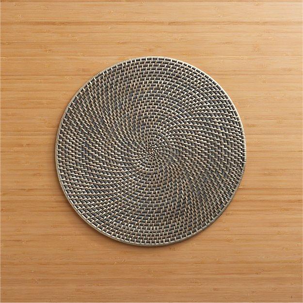 Artesia Grey Rattan Round Placemat - Image 1 of 11