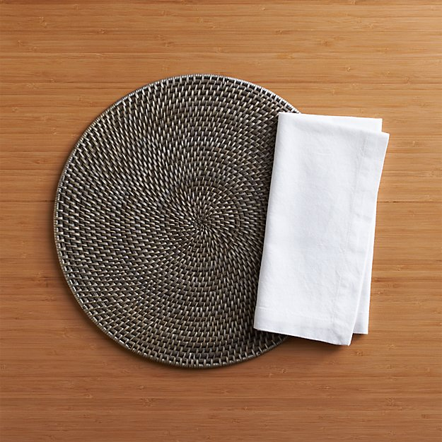 Artesia Grey Rattan Round Placemat and Abode Napkin