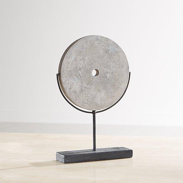Grey Volcanic Ash Disc Sculpture - Image 1 of 8