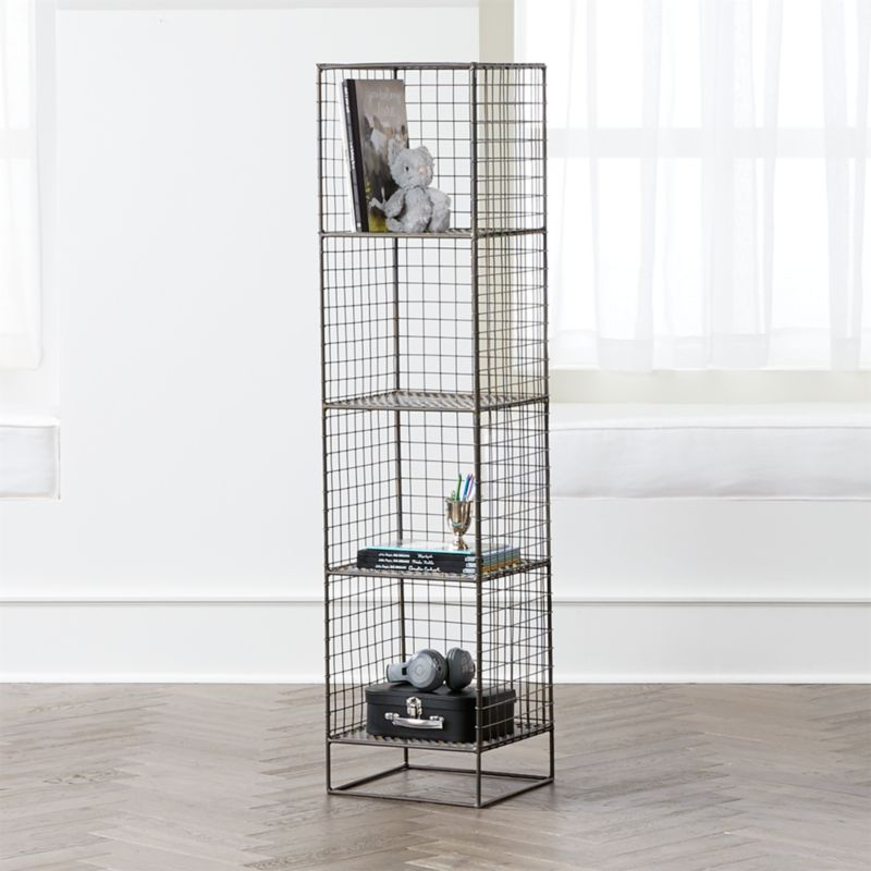 On The Grid Graphite 4 Cube Bookcase by Crate&Barrel