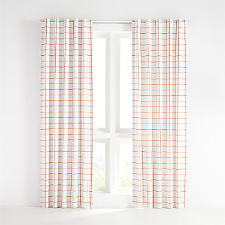 Orange Grid Curtain Panel