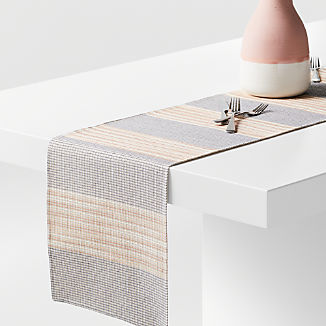 "Grid 90"" Embroidered Table Runner"