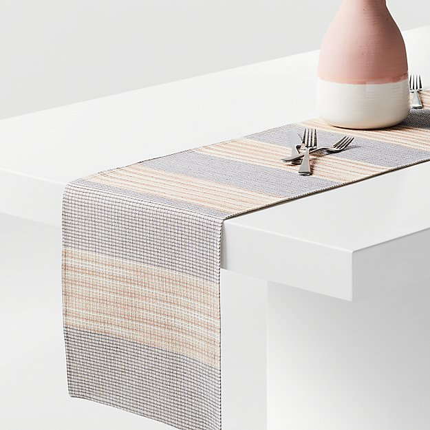 """Grid 90"""" Embroidered Table Runner - Image 1 of 2"""