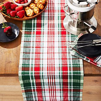red and green plaid 90 table runner