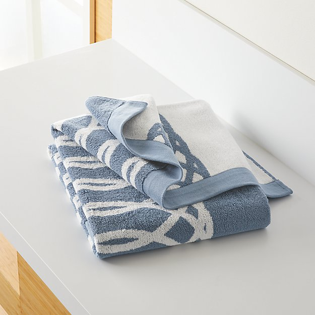 Hadli Blue Organic Jacquard Bath Towel - Image 1 of 9