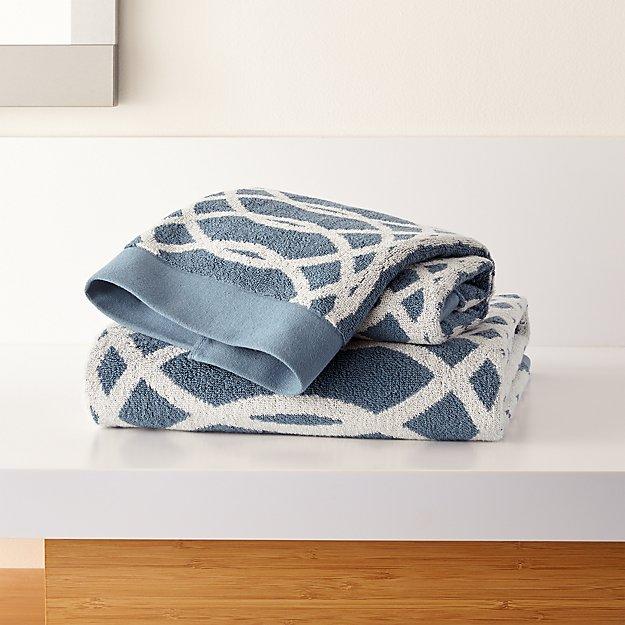 Hadli Blue Organic Jacquard Bath Towels - Image 1 of 3