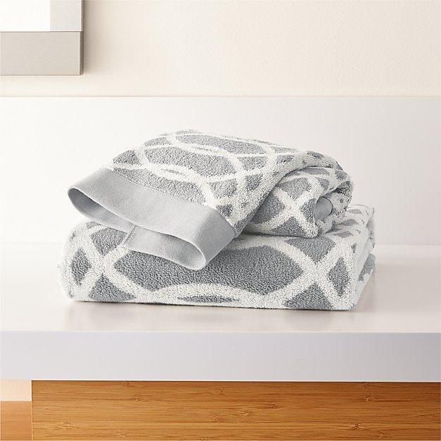 Hadli Grey Organic Jacquard Bath Towels - Image 1 of 3