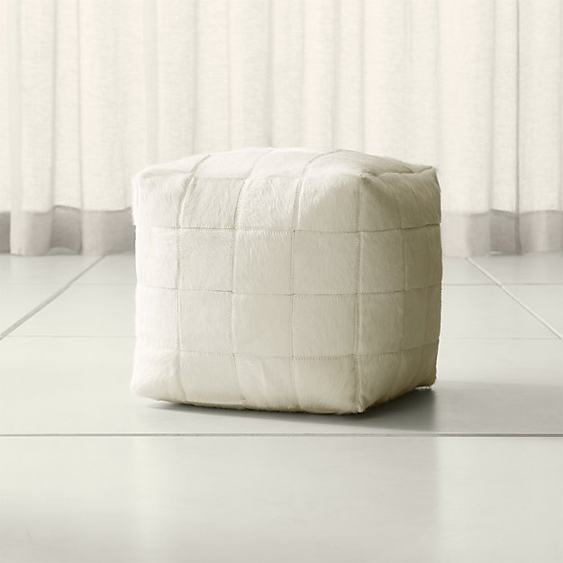 Hair on Hide Ivory Pouf