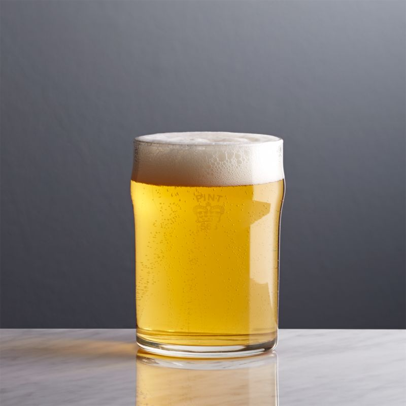 Although marked with the traditional crown of an official imperial pint, this English-style pub glass serves a petite half-pint for smaller pours of pale ales and lagers.<br /><br /><NEWTAG/><ul><li>Glass with screen print</li><li>9 oz.</li><li>Dishwasher safe</li><li>Made in USA</li></ul>
