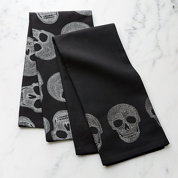 Halloween Skulls Dish Towels, Set of 2 - Image 1 of 3