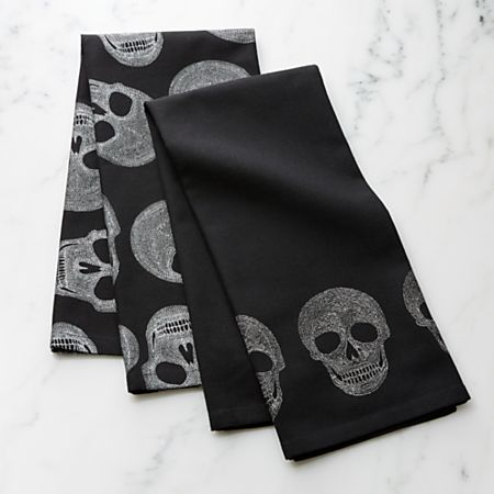 Halloween Skulls Dish Towels, Set of 2