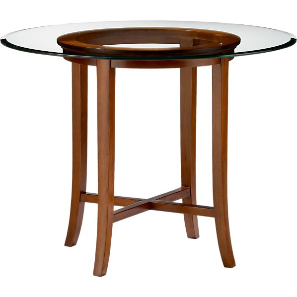 "Halo Cognac 36"" High Dining Table with 48"" Glass Top"
