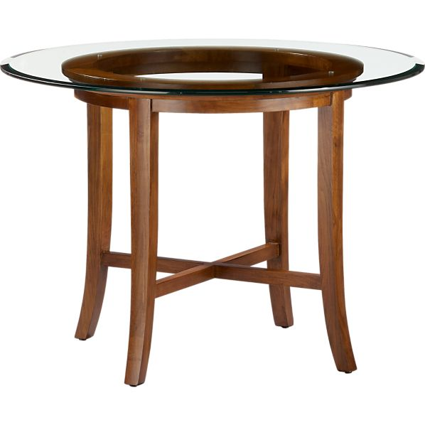 "Halo Cognac Dining Table with 42"" Glass Top"