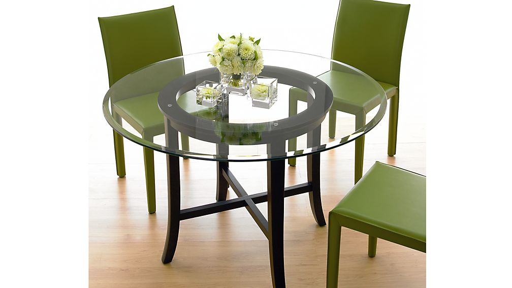 """Halo Ebony Round Dining Table with 42"""" Glass Top"""