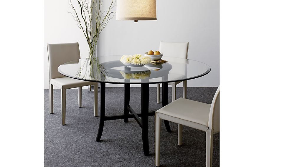 Halo Ebony Round Dining Tables with Glass Top | Crate and Barrel