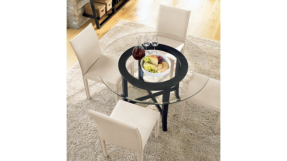 Top  Halo Ebony Round Dining Table with 48  Glass. Halo Ebony Round Dining Table with 48  Glass Top   Crate and Barrel
