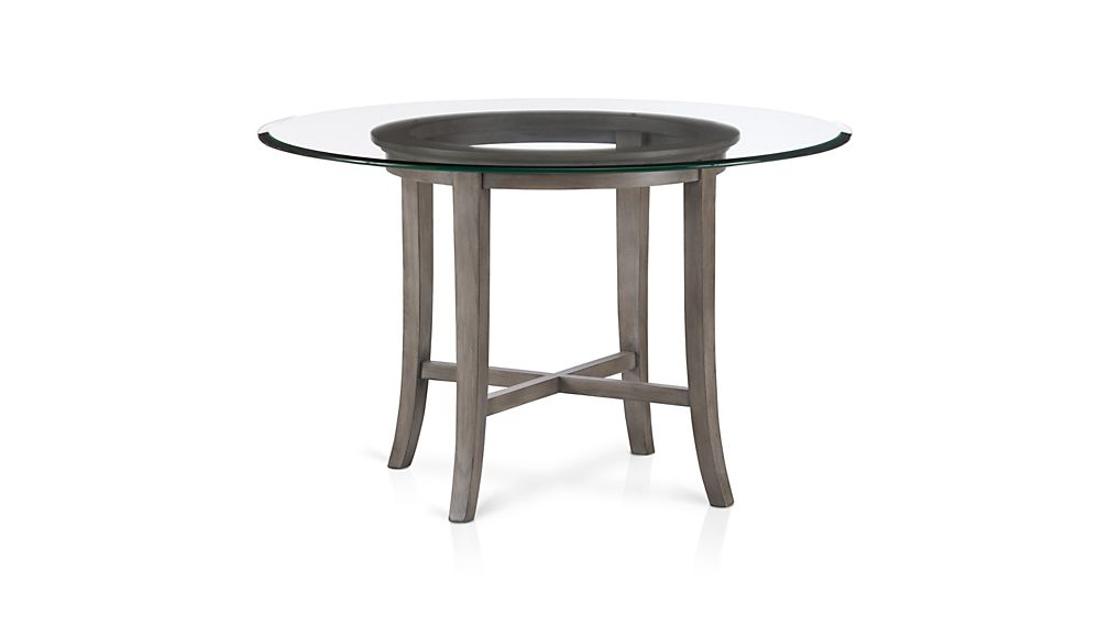 "halo grey round dining table with 42"" glass top + reviews 
