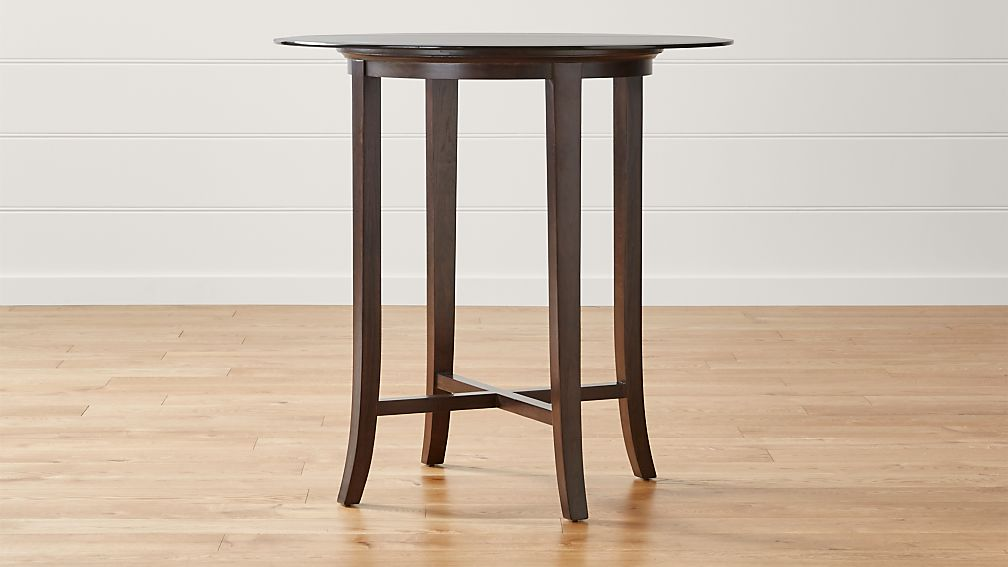"""Halo Ebony Round High Dining Table with 42"""" Glass Top"""