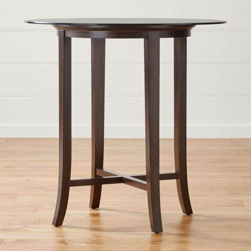 Halo ebony round high dining table with 42 glass top in for Glass top dining table next
