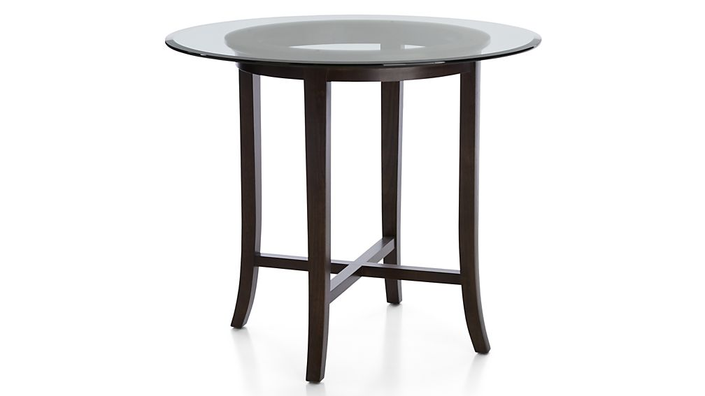 """Halo Ebony Round High Dining Table with 48"""" Glass Top"""