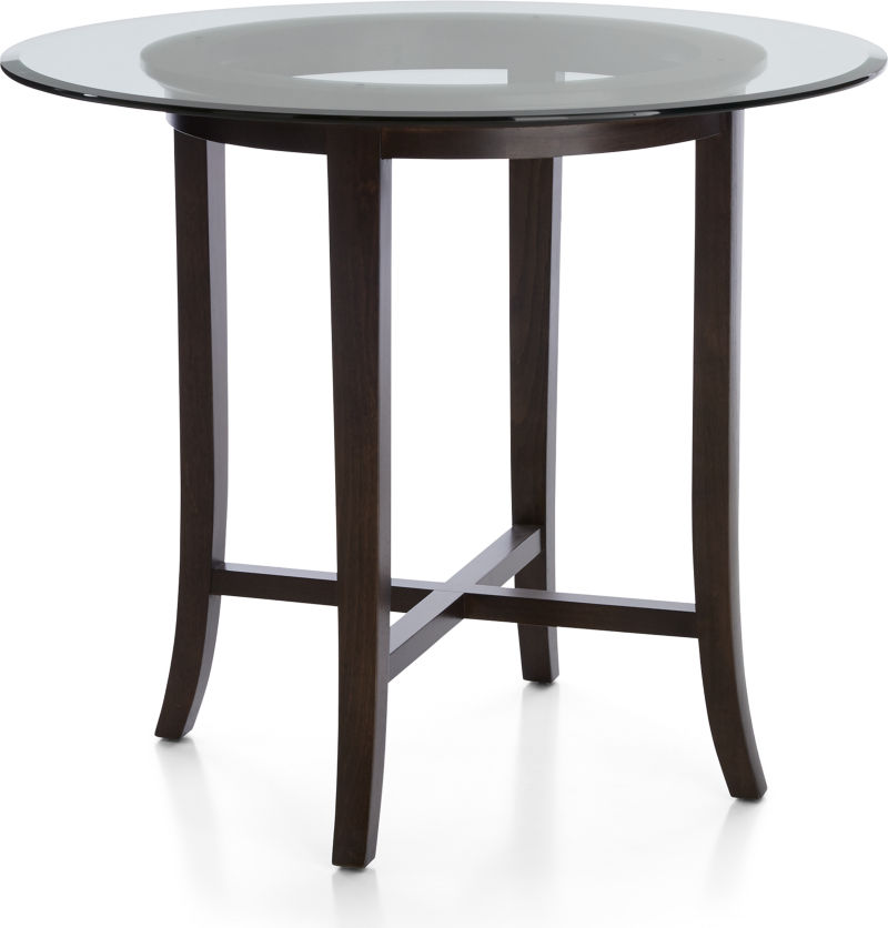 "Halo Ebony Round High Dining Table with 42"" Glass Top"