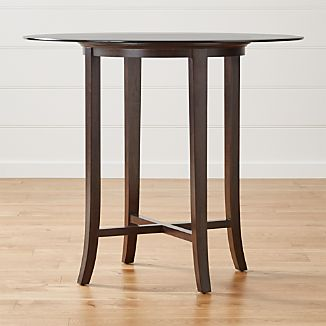 "Halo Ebony Round High Dining Table with 48"" Glass Top"