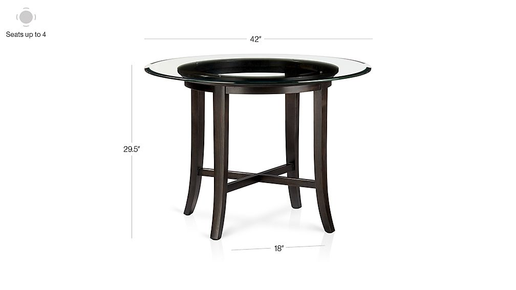 Halo Ebony Round Dining Tables with Glass Top Crate and  : HaloEbonyDngTblW42in3QF10Dim from www.crateandbarrel.com size 1008 x 567 jpeg 23kB