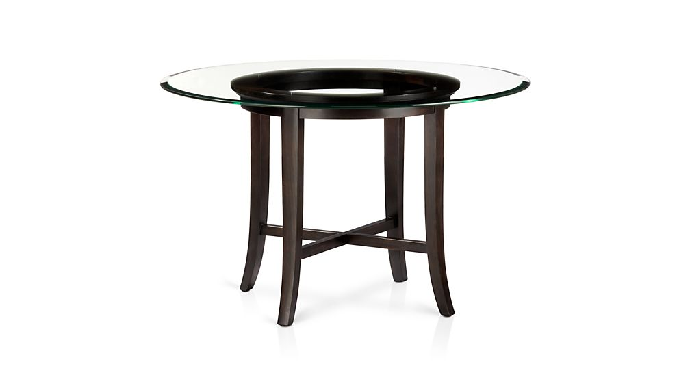 Glass Wood Dining Table Round halo ebony round dining tables with glass top | crate and barrel
