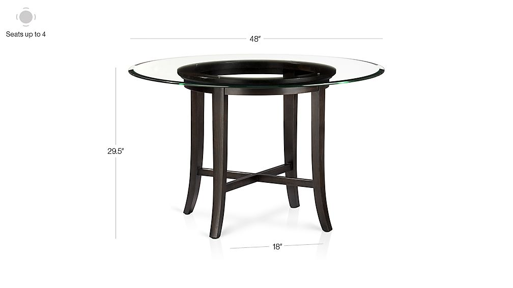 Halo Ebony Round Dining Tables With Glass Top Crate And