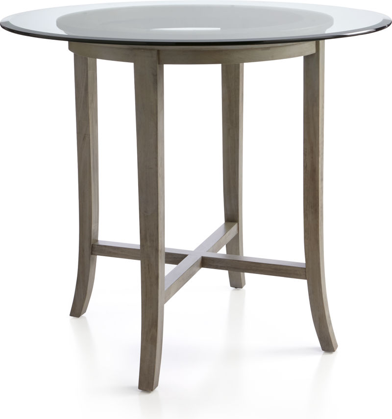 "Halo Grey Round High Dining Table with 42"" Glass Top"