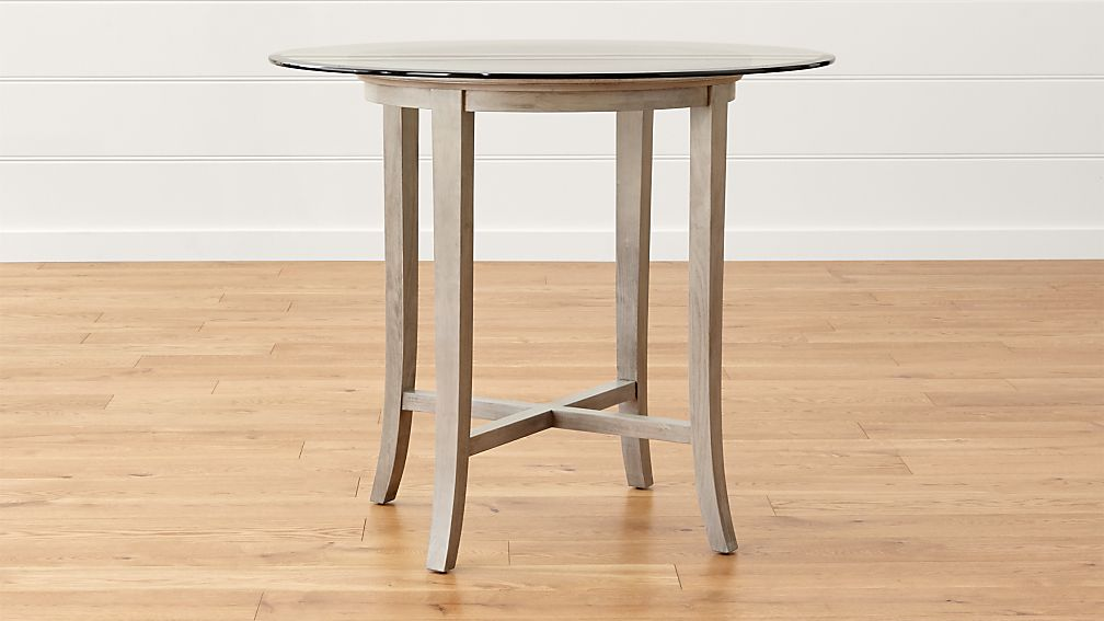 """Halo Grey Round High Dining Table with 42"""" Glass Top"""