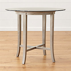 Halo Grey Round Dining Table With Glass Top Crate And Barrel